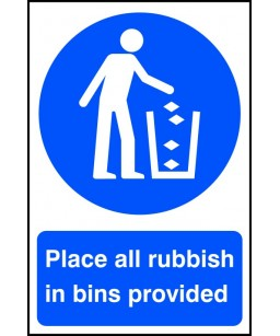 Place all rubbish in bins...