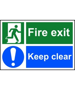 Fire exit Keep clear Safety...